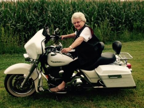 Doris on motorcycle
